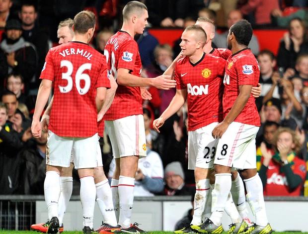 Tom Cleverley Manchester United, Comemoração AGÊNCIA AP (Foto: Agência AP)