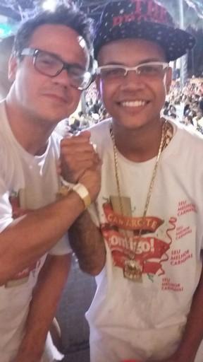 Danton Mello e MC Duduzinho em camarote em Salvador, na Bahia (Foto: Divulgação)