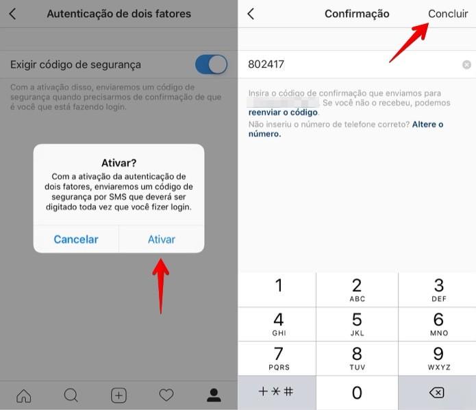 Confirme o código SMS recebido no seu celular (Foto: Reprodução/Helito Bijora)