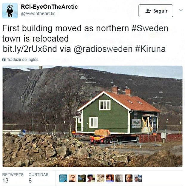 Transferência de edifícios começou na semana passada (Foto: Reprodução/Twitter)