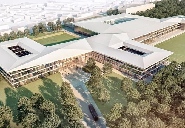 Projeto da nova academia de futebol da Federação Alemã que será construída  (Foto: Reprodução/Facebook)
