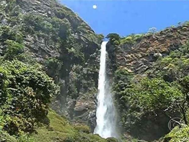 Cachoeira em Formosa, Goiás (Foto: Reprodução/TV Globo)