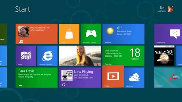 Tela da versão prévia do Windows 8 (Foto: Reprodução)