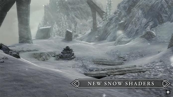 Superfícies com neve e água ganharam novas técnicas de sombreamento para parecerem mais realistas (Foto: Divulgação/Bethesda)