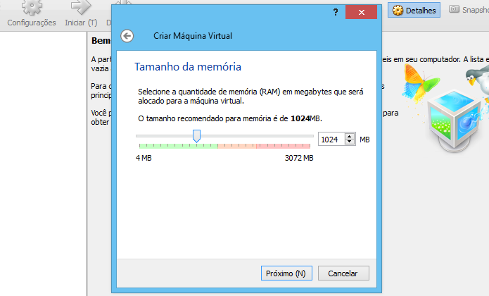 Defina a quantidade de memória RAM dedicada à máquina (Foto: Reprodução/Helito Bijora)