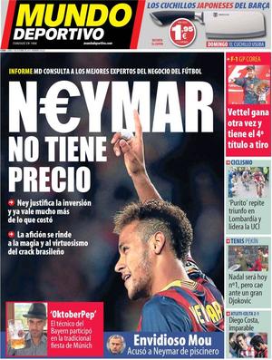 Jornal faz avaliação sobre o preço de Neymar (Foto: Reprodução / Mundo Deportivo)