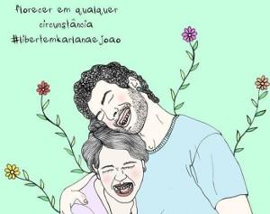 Cartaz da artista Layse Almada em mobilização pela liberdade de Karllana e João (Foto: Layse Almada)