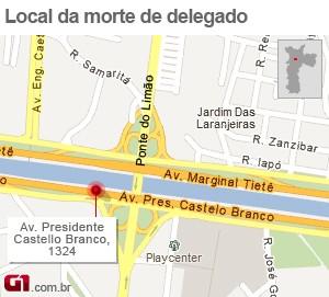 Mapa morte de delegado (Foto: Arte/G1)