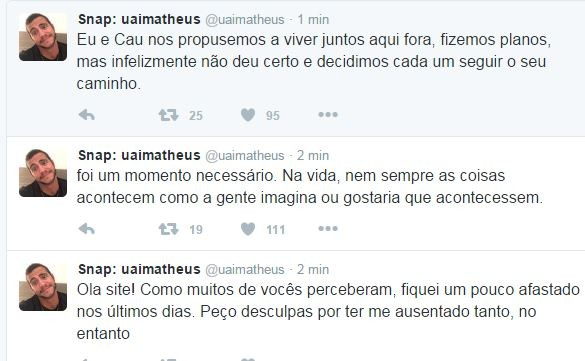 Matheus fala sobre término com Cacau  (Foto: Reprodução/Twitter)