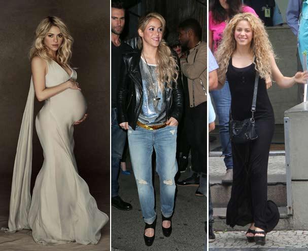 Shakira durante a gravidez, logo após o nascimento de Milan e essa semana, no Rio (Foto: Honopix/Getty Images)