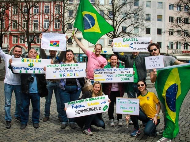 Manifestação em Munique, Alemanha (Foto: Thiago Novelli /VC no G1)