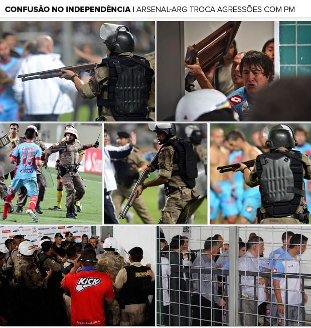 Mosaico - Confusão Atlético-MG x Arsenal Sarandi (Foto: Editoria de Arte)