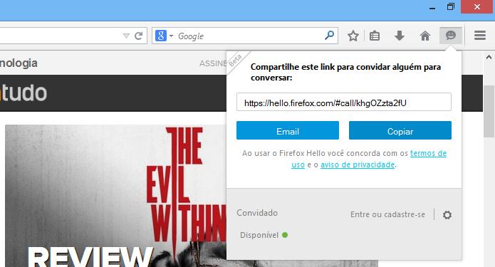 Acesse o menu do Firefox Hello (Foto: Reprodução/Helito Bijora)