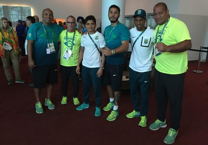 Adriana Araújo, Michel Borges, Robson Conceição, seleção brasileira de boxe, Rio 2016 (Foto: Adriano Albuquerque)