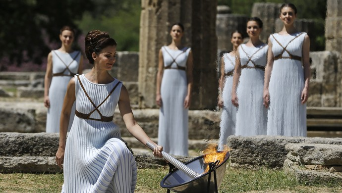 Cerimônia Tocha Olímpica (Foto: AP Photo/Thanassis Stavrakis)