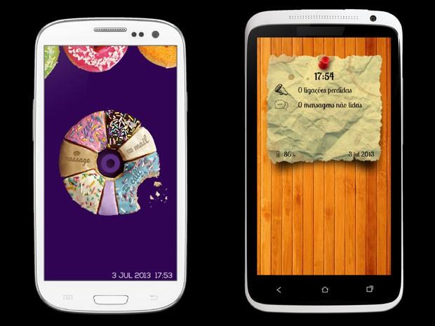 """Dois modelos de tela iterativa do aplicativo """"Super Tela de Bloqueio"""" (Foto: Foto reprodução/ Spark Mobile)"""