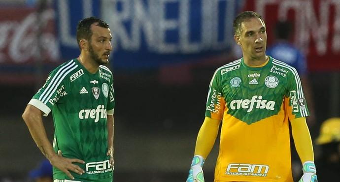 Palmeiras x Libertad Edu Dracena e Fernando Prass (Foto: Cesar Greco/Ag Palmeiras/Divulgação)