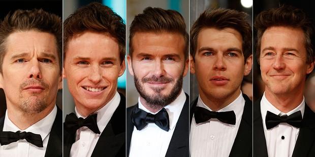 Ethan Hawke, Eddie Reymaine, David Beckham, James Righton e Edward Norton no BAFTA (Foto: AFP)