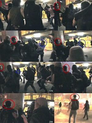 Perícia feita por Ricardo Molina analisou frame a frame da filmagem amadora da agressão ao coronel Reynaldo Rossi. O G1 sinaliza acima, em vermelho, onde estava Paulo Henrique, e em azul, onde ficou o oficial da PM. (Foto: Reprodução)