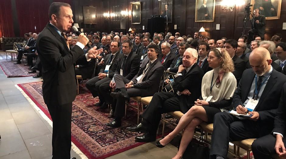 O prefeito de São Paulo João Doria (PSDB) em evento em Nova York, Estados Unidos (Foto: Reprodução/Twitter)
