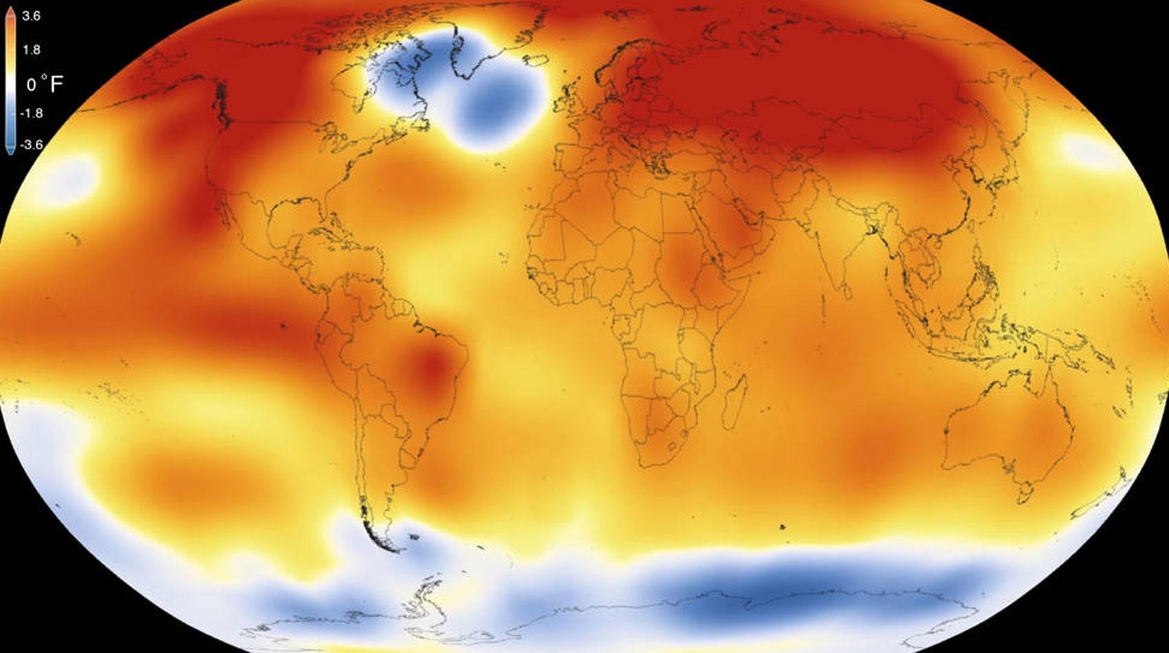 Mapa de temperaturas da Terra divulgado pela Nasa (Foto: Nasa)