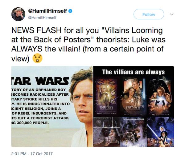 O post no qual Mark Hamill afirma que Luke Skywalker sempre foi vilão na saga Star Wars (Foto: Twitter)