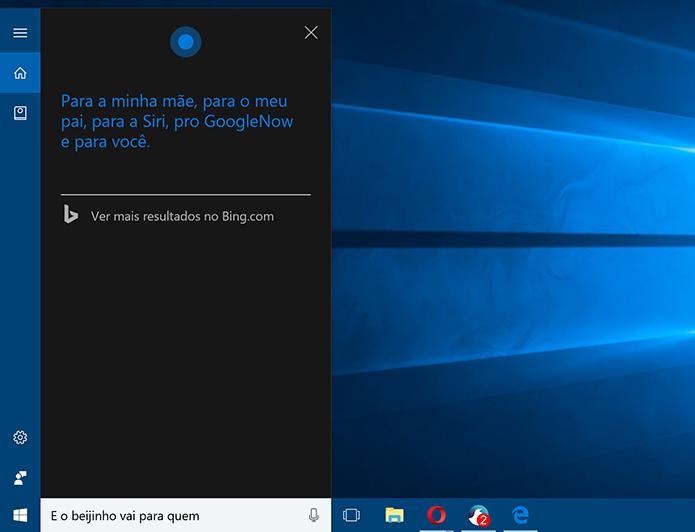 Cortana tem lista para quem deseja mandar beijinho (Foto: Reprodução/Elson de Souza)