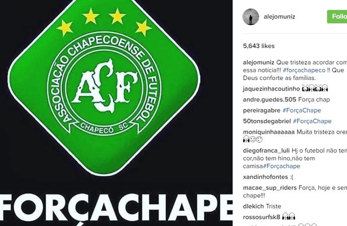 Alejo Muniz faz homenagem à Chapecoense (Foto: Reprodução Instagram)