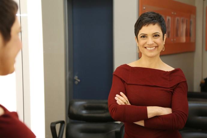 Sandra Annenberg nos bastidores do 'Domingão do Faustão' (Foto: Carol Caminha/Gshow)