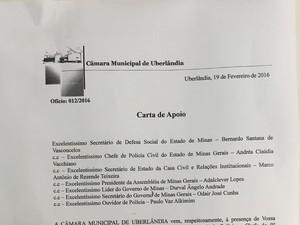 Entidades pedem permanência de delegado-chefe da PC em Uberlândia (Foto: Reprodução/Câmara Municipal de Uberlândia)
