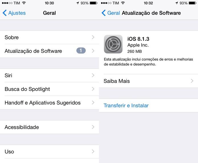 Atualize o software do iPhone para ajudar a acelerar seu desempenho (Foto: Reprodução/ Juliana Pixinine)