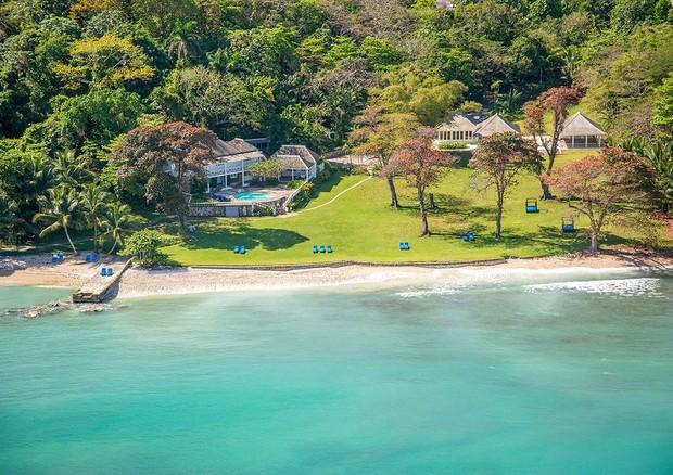 Vista aérea do local onde o casal se hospedou na Jamaica (Foto: Divulgação)