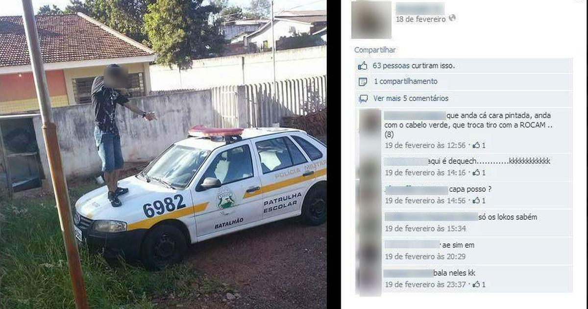 Adolescente é detido após tirar foto 'atirando' em cima de carro de polícia