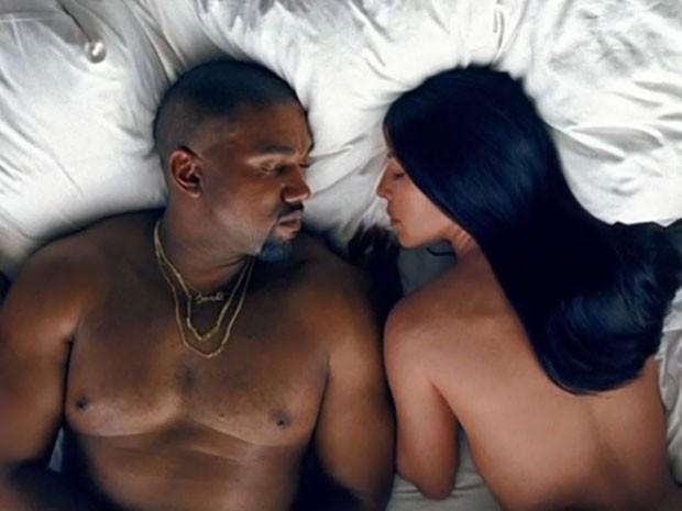 Kanye West e Kim Kardashian são retratados em clipe (Foto: Reprodução)