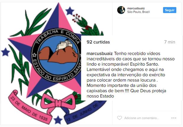 Famosos falam sobre o caos no Espírito Santo (Foto: Twitter / Reprodução) (Foto: Reprodução/Instagram)