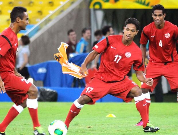 jogadores Taiti treino Maracanã (Foto: Alexandre Durão / Globoesporte.com)