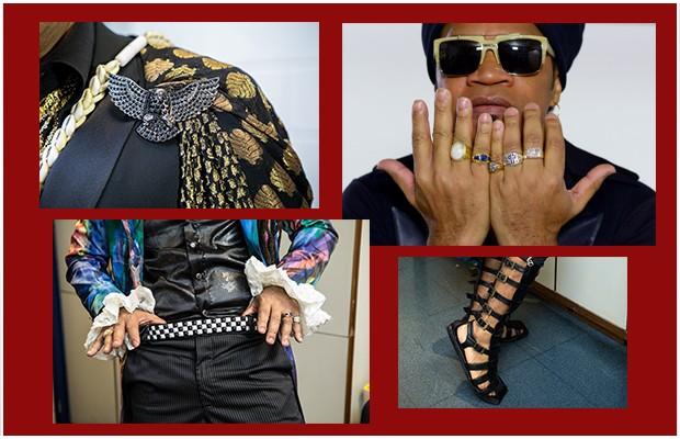 Difícil é mostrar todos os acessórios dele. Nos detalhes: anéis, sandálias gladiadoras e broche (Foto: Camila Serejo / Tv Globo)