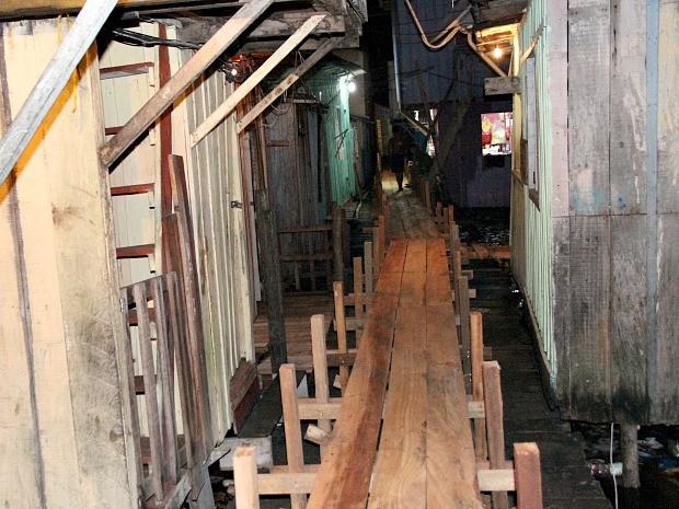 Pontes de acesso às residência foram construídas no local (Foto: Marcos Dantas/G1 AM)