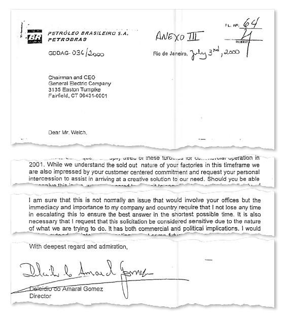 Trecho da carta de Delcídio a Jack Welch, CEO da GE. Delcídio pede a Welch que interceda e compreenda as implicações políticas da negociação (Foto: reprodução)