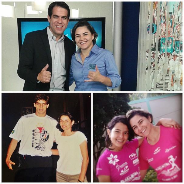 No topo, a comentarista com o colega de profissão Délio Pinheiro. Em baixo, do lado esquerdo, Cida com Juninho Pernambucano, e do lado direito, com sua filha Cecília.  (Foto: Arquivo Pessoal/ Cida Santana)