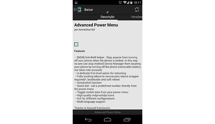 Advanced Power Menu é um módulo que customiza menu liga-desliga do Android (Foto: Reprodução/Paulo Alves)