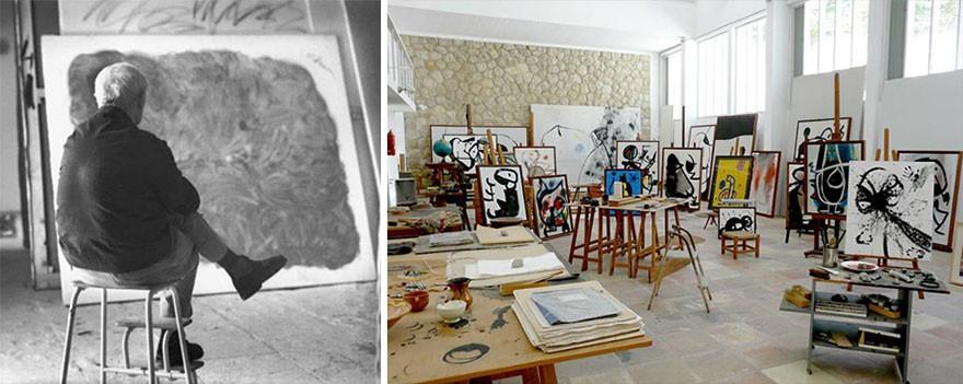 O modesto estúdio do pintor espanhol Joan Miró. (Foto: Reprodução)