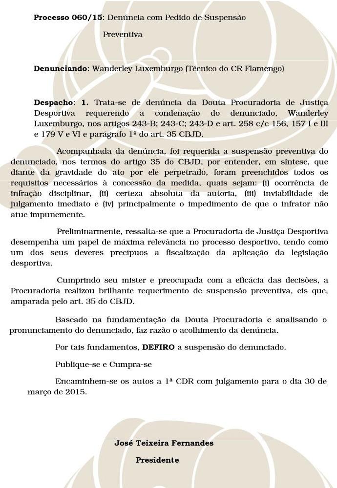 Documento suspensão Luxemburgo (Foto: DIlvulagação Ferj)