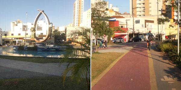 Na Avenida Presidente Kennedy, uma das principais de São Caetano do Sul, há uma ciclovia com projeto paisagístico próprio, que ocupa todo o canteiro central. É possível andar de bicicleta e fazer caminhadas. (Foto: Rosanne D'Agostino/G1)