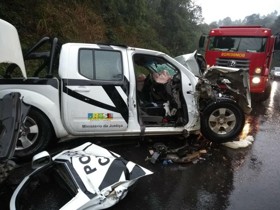 Acidente aconteceu na manhã desta quinta-feira (18), em União da Vitória, no sul do Paraná (Foto: Divulgação/Corpo de Bombeiros)