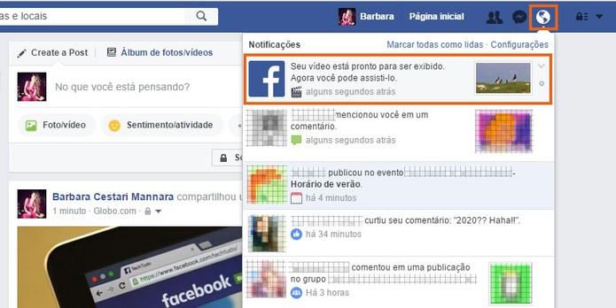 Abra a notificação de que seu vídeo foi publicado no Facebook (Foto: Reprodução/Barbara Mannara)