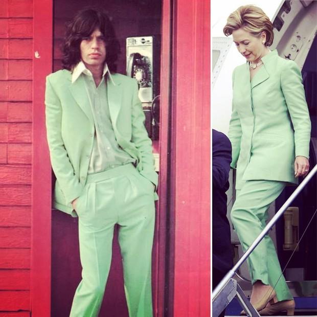 Mick Jagger e Hillary Clinton: terninho menta (Foto: Reprodução)