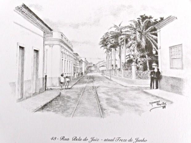 Gravura de Moacyr Freitas mostra trilhos do bondinho na Rua Treze de Junho, em Cuiabá. (Foto: Acervo do Instituto Histórico e Geográfico de Mato Grosso)