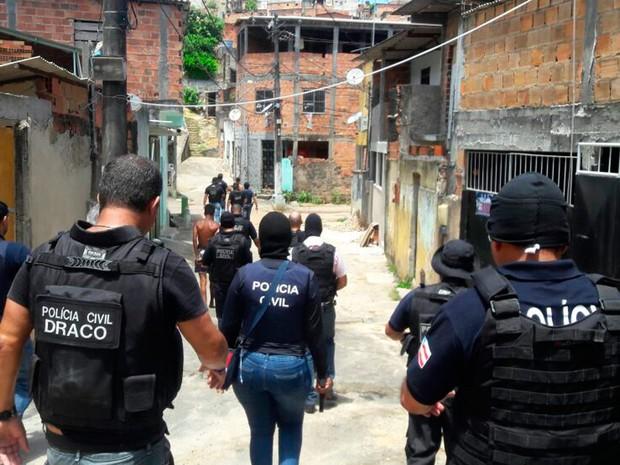 Operação policial no bairro de Tancredo Neves, em Salvador (Foto: Divulgação / Polícia Civil)