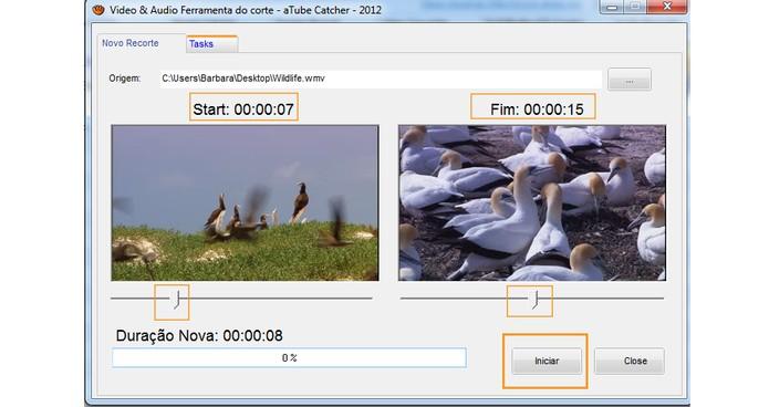 Selecione o trecho que deseja ter no resultado final do vídeo editado e inicie o processo no aTube Catcher (Foto: Reprodução/Barbara Mannara)